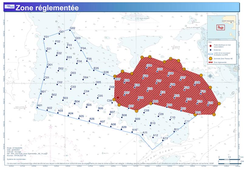 Carte réglementée de la zone du banc de Guérande